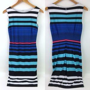 Cache Striped Sheath Dress Multi Color Sleeveless